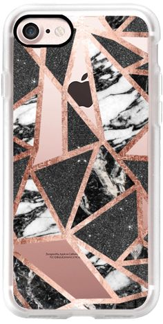 Casetify iPhone 7 Classic Grip Case - Modern Geometric Triangles in Faux Rose Gold Glitter and Black and White Marble- Transparent by BlackStrawberry #Casetify