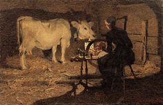 Giovanni segantini, Filatura, 1891.