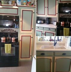 Kitchen Cabinets Get A Colorful Facelift With Olde Sage Geen Fenwick Yellow Barn Red Paint From Century Colors Thanks For Sharing Ees Gift