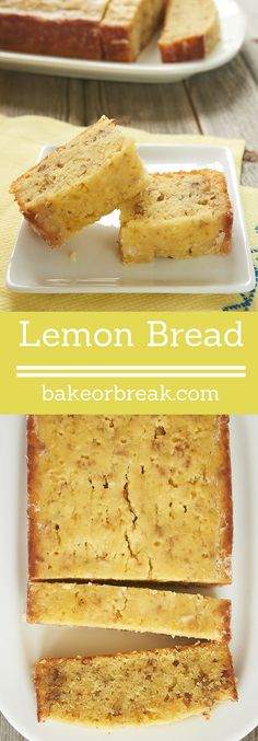 This soft, flavorful Lemon Bread is a great for breakfast, a snack, or even for dessert. A must-bake for lemon lovers! - Bake or Break Lemon Dessert Recipes, Lemon Recipes, Sweet Recipes, Cake Recipes, Desert Recipes, Breakfast Bread Recipes, What's For Breakfast, Biscuit Cinnamon Rolls, Lemon Bread
