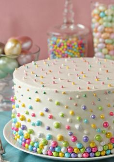 Easter Polka Dot Cake: Stunning beyond measure, this polka dot cake will delight your family even more when they discover the mini colorful cake balls hidden inside. Click through to discover more easy decorating ideas for the best Easter cakes. Girl Shower Cake, Baby Shower Cakes, Homemade Birthday Cakes, Homemade Cakes, Polka Dot Cakes, Polka Dots, Cake Recipes, Dessert Recipes, Easter Cupcakes