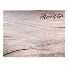 Rustic Wood Grain Design Wedding RSVP Postcard - rustic gifts ideas customize personalize
