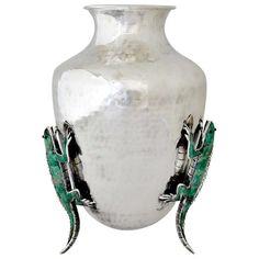 Emilia Castillo Hand Hammered Silverplate Iguana Vase #EmiliaCastillo