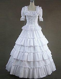 Gothic Lolita Kleid weißen Spitzenkleid Vintage gotische viktorianischen Kleid Cosplay Kostüme