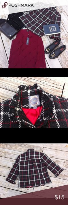 """Forever 21 gray red plaid jacket lined Size S. F21 gray and red plaid jacket fully lined in red. Ruffle collar and cuff 3/4 sleeve. Size S. Measures 17.5"""" under arm to under arm 20"""" length Forever 21 Jackets & Coats"""