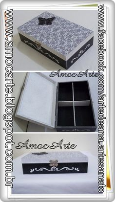 Porta joia com aplique de madeira e detalhes em relevo - mdf http://www.amocarte.blogspot.com.br/