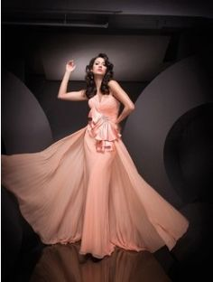 Trumpet/Mermaid Floor-Length Strapless Ruffles Sleeveless Chiffon Dresses
