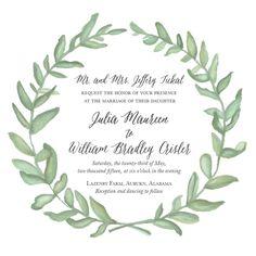 Water color wreath wedding invitation with asterism typeface—Rachel Herring Design.