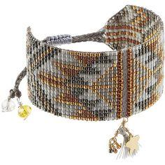 Mishky Embellished Bracelet (€59) ❤ liked on Polyvore featuring jewelry, bracelets, grey, beads jewellery, handcrafted beaded jewelry, beading jewelry, bohemian style jewelry and adjustable bangle
