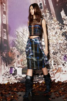 Nicole Miller | Pre-Fall 2014 Collection | Style.com | Plaid Street Look - sheer printed plaid