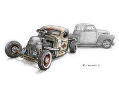 """Anthony Kent Writtenberry's and Aj Writtenberry's cool Rat Rod and their NaDine Pickup The Writtenberry's are all class ... I'm honoured to know them. Sketched live at the very hot and well-attended 2017 Atlantic Nationals at Centennial Park in Moncton. Pencil, pen & ink, markers, and Jack Daniels Honey Whiskey on 11.5""""x 8.5"""" watercolour paper. © Paul Chenard 2017"""