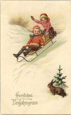 Neujahr-Kinder mit Schlitten-Hase im Schnee, Glückwunsch-Amag-Ak von 1917 | eBay