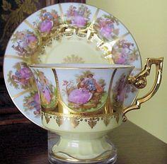 Wonderful vintage teacup and saucer with Fragonard panels and gold beading Vintage Tea, Vintage Cups, Vintage China, Antique Tea Cups, Cuppa Tea, Teapots And Cups, Teacups, China Tea Cups, Porcelain Mugs