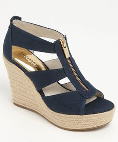 pretty navy blue wedge sandals