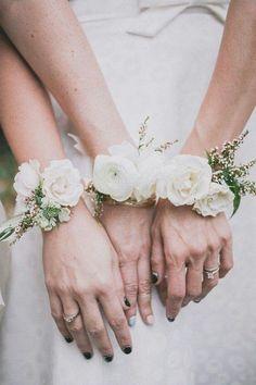 Bridesmaid wrist corsages. Photo by Edyta Szyszlo Photography.