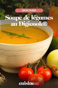 La soupe de légumes est une entrée pas chère et facile à cuisiner au Digicook®. #recette #cuisine #soupe #legume #robotculinaire #digicook Cantaloupe, Robot, Fruit, Restaurants, Cream Soups, Cooking Recipes, Robots