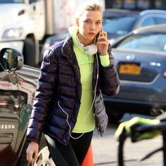 Fashion model Karlie Kloss out and about in New York wearing Moncler #moncler #monclerfriends