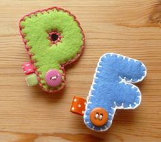Letter badge brooch -- Felt initial letter pin brooch - CUSTOM ORDER alphabet - or make your own pattern. Girls could make a bunch of their own first initials and SWAP with Girl Scouts.