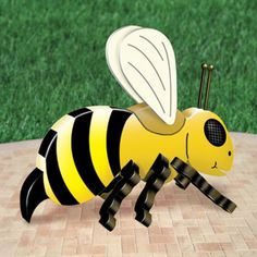 """3D Giant Bee Pattern  14""""H x 8""""W x 18""""L Parts Req'd: Wooden Tie Pegs (1) P-158    Pattern #2460  $12.95  ( crafting, crafts, woodcraft, pattern, woodworking, yard art, insect ) Pattern by Sherwood Creations"""