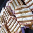 Ham and Brie Sandwich w/ apple slices, apricot preserves, dijon mustard