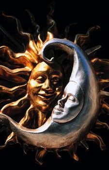 Carnival masks representing moon and sun. Venice. Italy  - stock photo