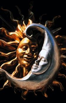 Carnival masks representing moon and sun. Venice. Italy  - stock photo