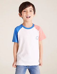 3pk Cotton Colour Block T-Shirts (2-7 Yrs) | M&S Living Proof Hair Products, Cami Set, London Spring, Brand Collection, Best Jeans, Color Blocking, Colour Block, Cool Kids, Kids Fashion