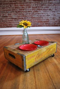 UPCYCLED  Vintage CocaCola Crate Pet Feeder by summerofseventy - would be great to make a nice area for the kitties