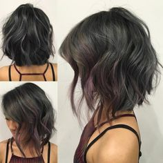 like the back of this cut!! Choppy Wavy Angled Bob