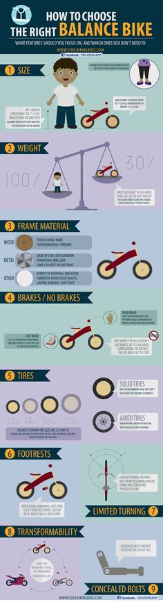 Infographic on how to choose and what features should we look at, when picking up the right balance bike: frame material, tires, size, weight, limited turning, footrest, transformability, brakes and concealed bolts - Cool Biking Kids