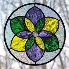 Stained Glass Mardi Gras Mandala Star Suncatcher by LivingGlassArt, $42.00
