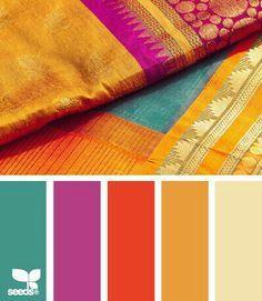 Gold, teal, purple, orange