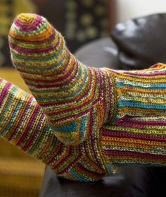 Colorful Crochet Socks - Free pattern & skill level: easy... just might be able to make these.  I love Crochet socks!  So comfy and so warm!