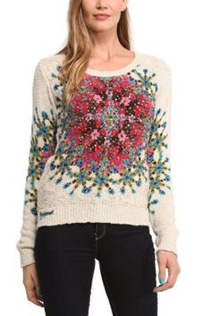 Desigual women's Elley jumper. The psychedelic print is the star of this round neck jumper. From the new Why