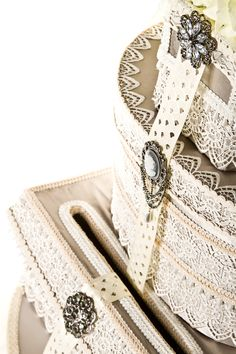 Grey and lace vintage Wedding card box