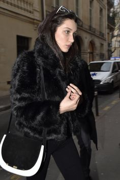 "hadidnews: "" "" March 5: Bella Hadid leaving her hotel in Paris, France."" """