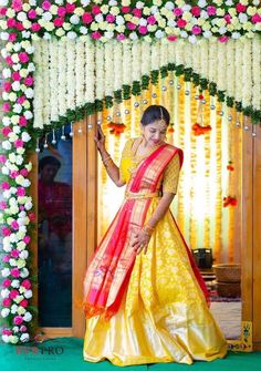 When you're looking for flower decorators in Hyderabad or Wedding Stage Decoration, choose the best professionals. Desi Wedding Decor, Wedding Hall Decorations, Wedding Stage Design, Wedding Mandap, Wedding Designs, Housewarming Decorations, Traditional Wedding Decor, Indian Wedding Photography Poses, Lehenga