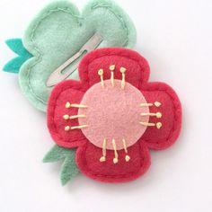 Felt Hair Clips Strawberry Pink Flower Felt by MangoMommyHairClips