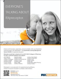 EVERYONE'S  TALKING ABOUT  RXpreceptor - Improve communication, organization, and accountability within your Experiential  Learning program with RXpreceptor™, the Experiential Learning Management  System (ELMS) for experiential education. ----- (As seen in the 2012 Pharmacy Platinum Pages Buyer's Guide: rxplatinumpages.com) Pharmacist Education, Pharmacy School, Improve Communication, Experiential Learning, Service Learning, Hard Work And Dedication, Leadership, Management, Organization