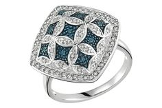 1/4 CARAT BLUE AND WHITE DIAMOND STERLING SILVER RING W/BLUE RHODIUM    $195.00