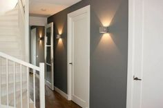 I love the idea of sconces for the hallway but especially for the stairs so light bulbs are easier to change. My Living Room, Home And Living, Luminaire Applique, Happy New Home, Entry Hall, Home Reno, Grey Walls, Home Decor Items, Future House