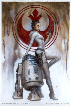 """adigranovart: """"The original artwork for Princess Leia #1 ECCC variant cover Graphite, acrylic and pencils on archival watercolour board. The size of the artwork is 15 x 22.5 inches. """""""