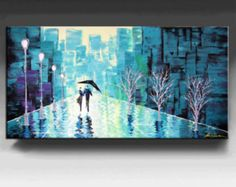 Abstract Painting,  Cityscape painting, HUGE Original DEEP Artist Canvas  Textured Palette Knife Painting,   Ready to Hang