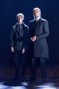 Anthony Boyle (Scorpius Malfoy) and Alex Price (Draco Malfoy). Harry Potter and the Cursed Child. Palace Theatre. London.  2016