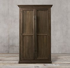 20th C. English Brass Bar Pull Panel Double-Door Cabinet