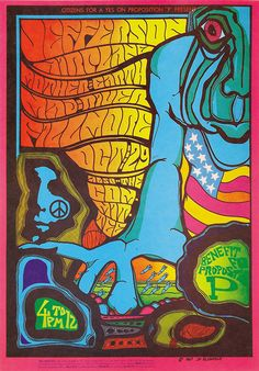 Benefit for Proposition P - Jefferson Airplane/Mother Earth/Mad River at The Fillmore, San Francisco, October 29, 1967. Art: Jim Blashfiel