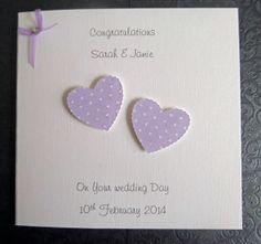 Personalised Handmade Wedding Day Card - Polka Dot Hearts - Lilac SC102 £2.75