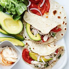 Chicken Tacos Recipe : Directions Combine flour and 1 tsp salt in a bowl and make a well in the centre. Pour oil and water into the centre and mix together until sm. Healthy Taco Recipes, Chicken Taco Recipes, Healthy Tacos, Lamb Recipes, Chicken Tacos, Mexican Food Recipes, Cooking Recipes, Ethnic Recipes, Recipe Chicken