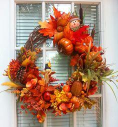 Fall Grapevine Wreath Autumn Splendor by ShadesOfTheSeasons, $87.00
