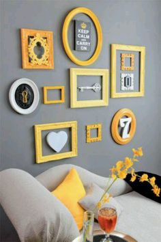 Grey And Yellow Room A Grey And Yellow Bedroom For Gray Yellow Living Room Orange And Grey Living Room Decor, Gray Decor, Yellow Room Decor, Yellow Wall Art, Living Room Decor Ideas Grey, Grey Room Decor, Living Room Themes, Living Room Grey, Living Room Decor Yellow Walls